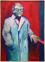Mann im Fahrstuhl 1981 Acryl, Nessel 160 x 115 cm